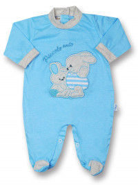 Cotton baby footie My little bunny rabbit. Colour turquoise, size 0-1 month