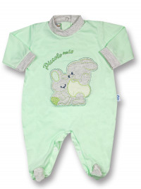 Cotton baby footie My little bunny rabbit. Colour pistacchio green, size first days