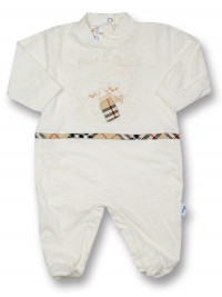 Baby footie Mama, I drink 100% cotton milk. Colour creamy white, size 1-3 months