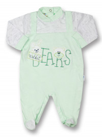 Baby footie rabbit jersey cotton jersey bears. Colour pistacchio green, size first days