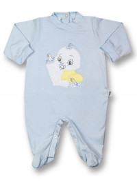 Baby Footie Baby: I'll get the baby bottle. Colour light blue, size 6-9 months