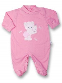 Baby footie bear with cotton bottle. Colour fuchsia, size 3-6 months