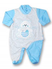 Cotton baby footie baby bear with mom. Colour turquoise, size 3-6 months