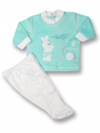Baby outfit 2 pcs Baby rabbit & car. Colour green, size 1-3 months