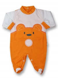 Baby footie Baby bear wow in cotton. Colour orange, size 0-1 month