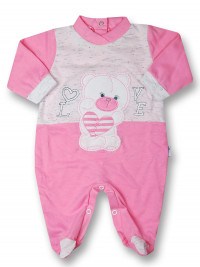 Baby footie cotton Teddy love. Colour coral pink, size 0-1 month
