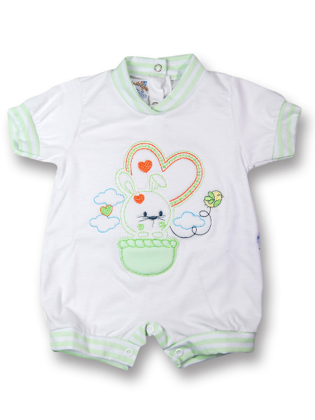 Baby Bunny Romper. Colour pistacchio green, size 0-1 month