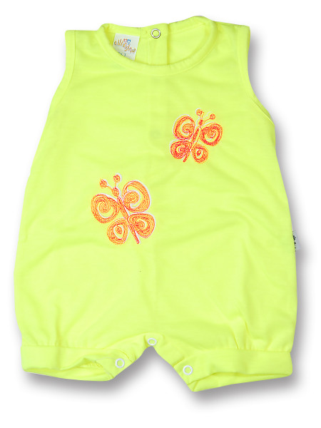 Romper newborn baby sleeveless butterflies, in cotton. Colour yellow, size 1-3 months Yellow Size 1-3 months