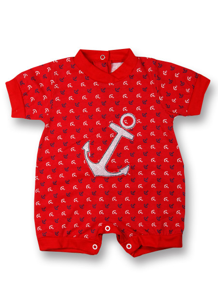 Romper cotton baby we drop anchor. Colour red, size first days Red Size first days