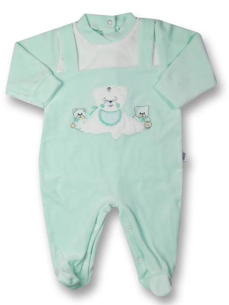 Baby footie Baby bear happy in chenille. Colour green, size 1-3 months Green Size 1-3 months
