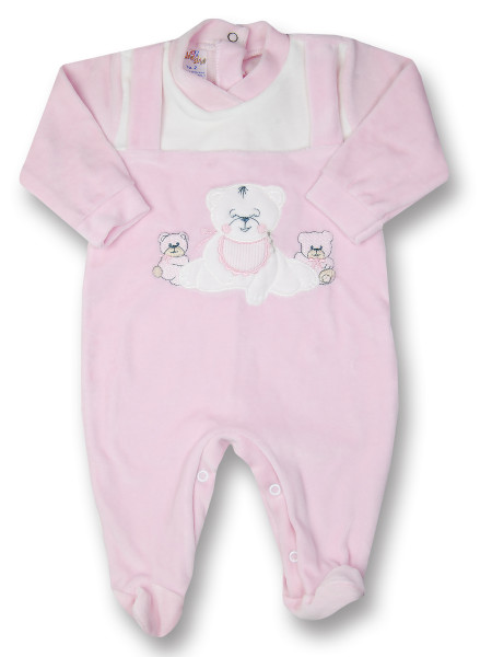 Baby footie Baby bear happy in chenille. Colour pink, size 0-3 months Pink Size 0-3 months