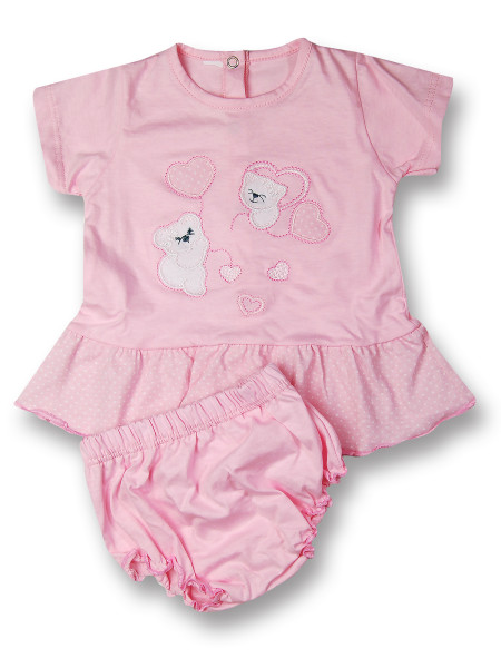 Cotton baby outfit Teddy bears and little hearts. Colour pink, size 1-3 months Pink Size 1-3 months