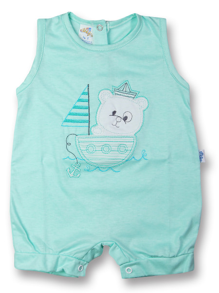 Sailor sleeveless cotton romper. Colour green, size 3-6 months Green Size 3-6 months