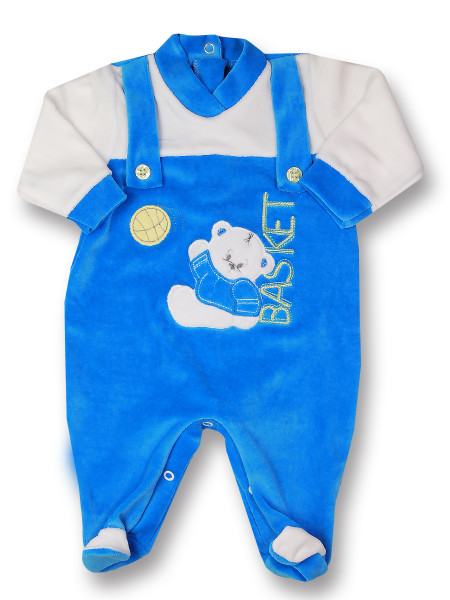 baby footie basketball with suspenders. Colour royal blue, size 0-1 month Royal blue Size 0-1 month