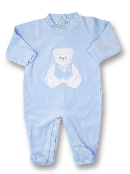 baby footie in chenille baby bear sitting. Colour light blue, size 3-6 months Light blue Size 3-6 months
