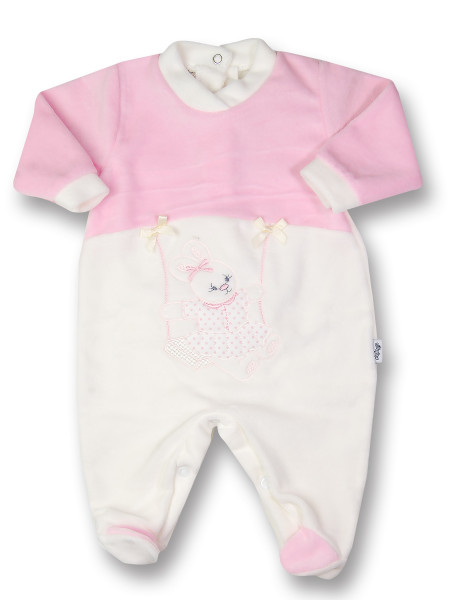 baby footie bunny on chenille rocking rabbit. Colour pink, size 0-1 month Pink Size 0-1 month