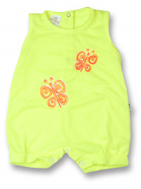 Romper newborn baby sleeveless butterflies, in cotton. Colour yellow, size 0-1 month