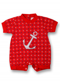 Romper cotton baby we drop anchor. Colour red, size 1-3 months