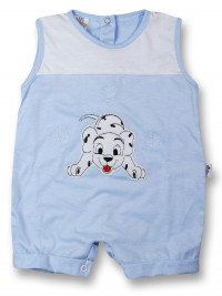Dalmatian cotton sleeveless baby Romper. Colour light blue, size 0-1 month