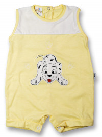 Dalmatian cotton sleeveless baby Romper. Colour yellow, size 1-3 months