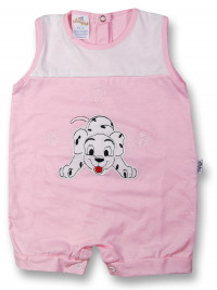 Dalmatian cotton sleeveless baby Romper. Colour pink, size 0-1 month