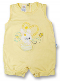 Bunny Romper in hot air balloon. Colour yellow, size 1-3 months