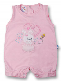 Bunny Romper in hot air balloon. Colour pink, size 0-1 month