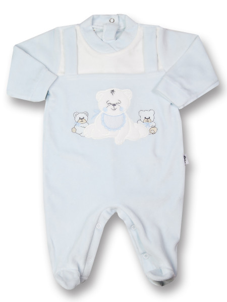 Baby footie Baby bear happy in chenille. Colour light blue, size 3-6 months Light blue Size 3-6 months