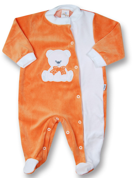 baby footie baby bear with chenille bow. Colour orange, size 9-12 months Orange Size 9-12 months