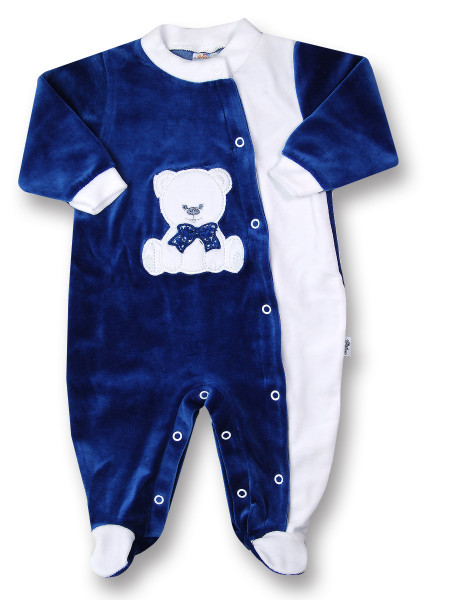 baby footie baby bear with chenille bow. Colour blue, size 9-12 months Blue Size 9-12 months