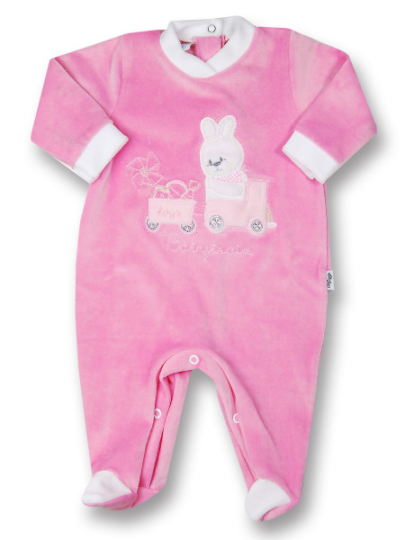baby footie rabbit chenille babytrain rabbit. Colour fuchsia, size 3-6 months