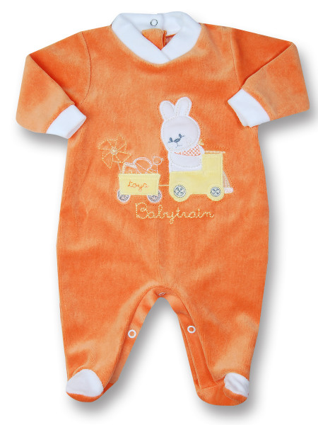 baby footie rabbit chenille babytrain rabbit. Colour orange, size 00 Orange Size 00