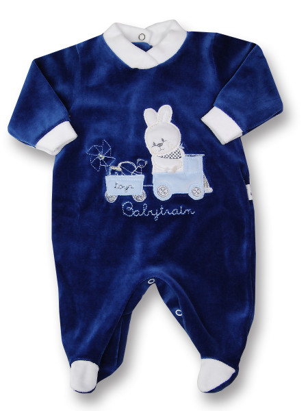 baby footie rabbit chenille babytrain rabbit. Colour blue, size 3-6 months