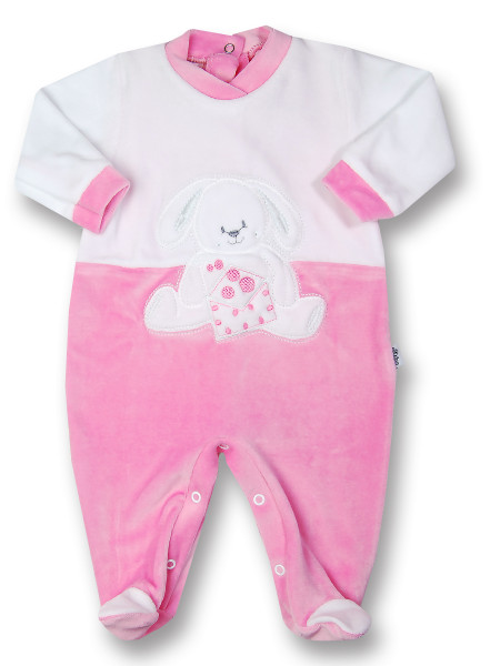 baby footie in chenille rabbit with letter. Colour fuchsia, size 6-9 months Fuchsia Size 6-9 months