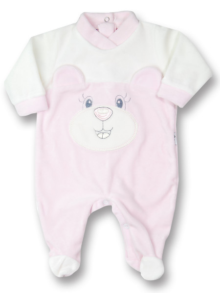 animal chenille baby footie with ears. Colour pink, size 9-12 months Pink Size 9-12 months