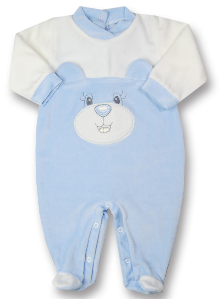 animal chenille baby footie with ears. Colour light blue, size 9-12 months Light blue Size 9-12 months
