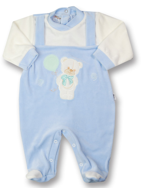 baby footie bear bow and chenille balloon. Colour light blue, size 0-3 months Light blue Size 0-3 months