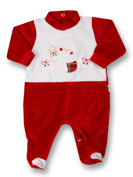 baby footie in chenille baby bottles and bows. Colour red, size 9-12 months Red Size 9-12 months
