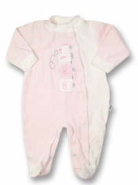 baby footie vertical chenille train. Colour pink, size 6-9 months