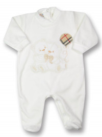chenille baby footie balloon twins. Colour creamy white, size 3-6 months