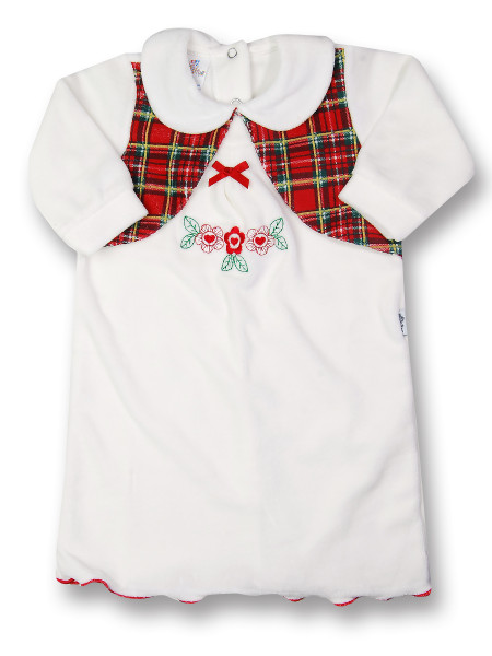 newborn baby dress in chenille . bow and tartan flowers. Colour creamy white, size 3-6 months Creamy white Size 3-6 months