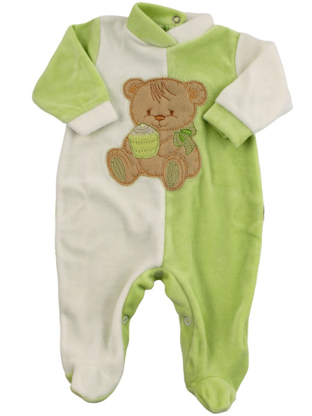 baby footie and white chenille baby bear muffin. Colour pistacchio green, size 3-6 months Pistacchio green Size 3-6 months