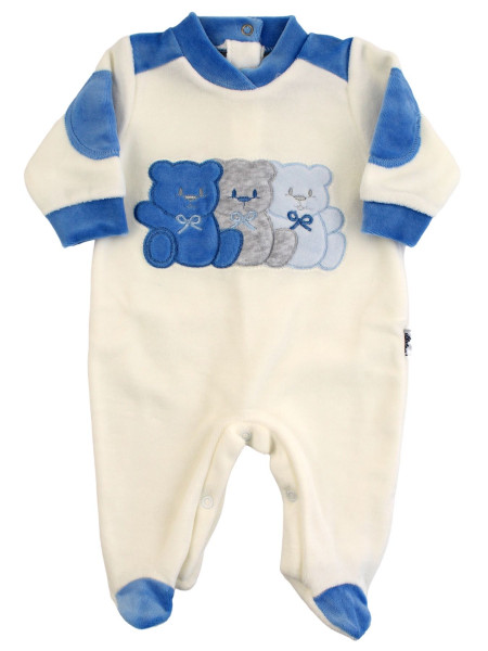 Baby footie Chenille baby Three little bears. Colour royal blue, size 6-9 months Royal blue Size 6-9 months