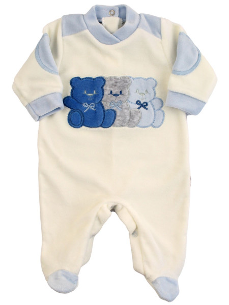 Baby footie Chenille baby Three little bears. Colour light blue, size 6-9 months Light blue Size 6-9 months
