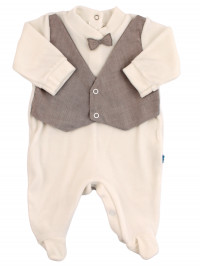 baby footie chenille . baby footie vest and bow tie. Colour creamy white, size 0-1 month