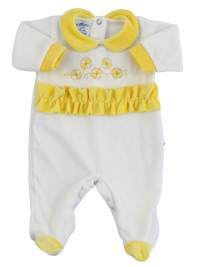 baby footie chenille clovers lucky charms. Colour yellow, size 0-3 months