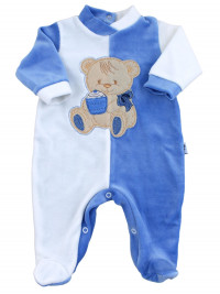 baby footie and white chenille baby bear muffin. Colour light blue, size 0-3 months