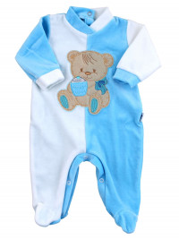 baby footie and white chenille baby bear muffin. Colour turquoise, size 0-3 months