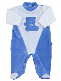 baby footie #color# and white chenille #cut # baby bear Hello. Colour royal blue, size 0-3 months
