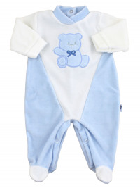 baby footie #color# and white chenille #cut # baby bear Hello. Colour light blue, size 3-6 months